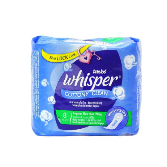 WHISPER COTTONY CLEAN REGULER FLOW NON WINGS 8 PADS