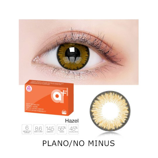 A+ New Hazel 2 Color Softlens Plano/No Minus