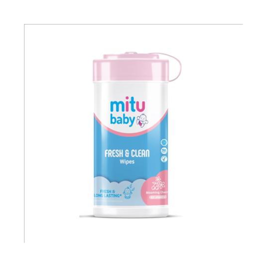 Mitu Baby Wipes Pink Bottle 60 Pieces