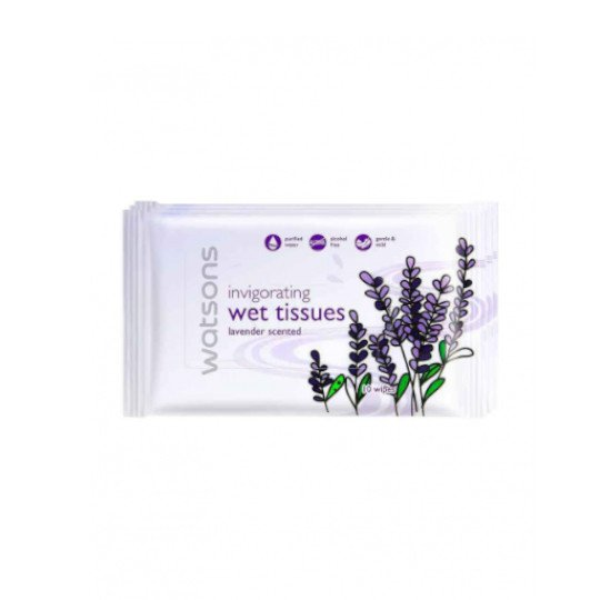 WATSONS INVIGORATING WET TISSUES LAVENDER 10 LEMBAR