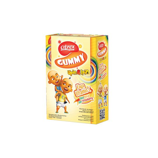 CITREX GUMMY UPIN IPIN RASA JERUK DAN STRAWBERRY 5 SACHET