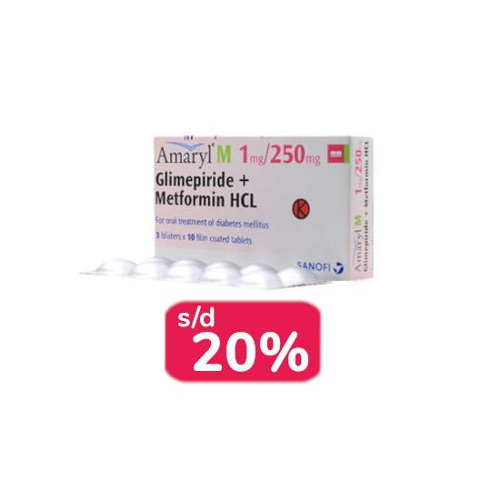 Amaryl M 1 mg/250 mg 30 Tablet - Obat Rutin