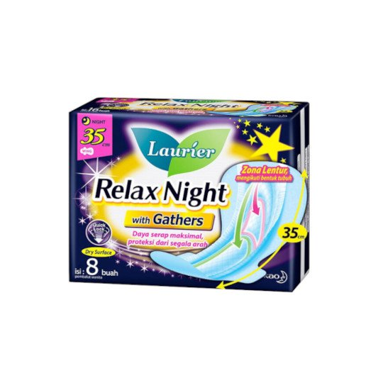LAURIER RELAX NIGHT WITH GATHERS 35 CM 8 PADS