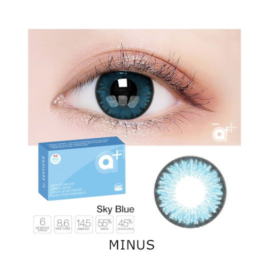 A+ New Blue 2 Color Softlens Minus