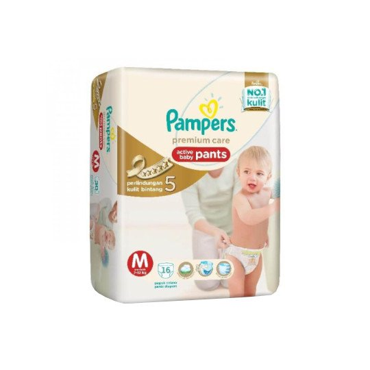 PAMPERS PREMIUM CARE ACTIVE BABY PANTS M 16 PIECES