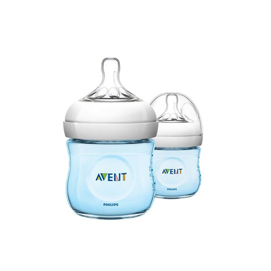 AVENT BOTTLE NATURAL 125 ML TWIN BLUE