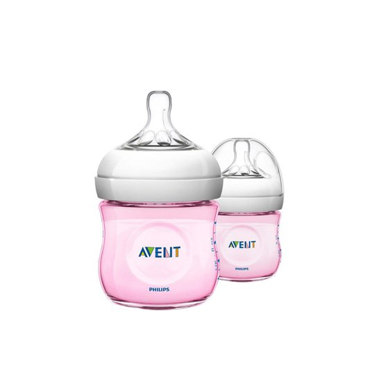 AVENT BOTTLE NATURAL 125 ML PINK 2 PIECES