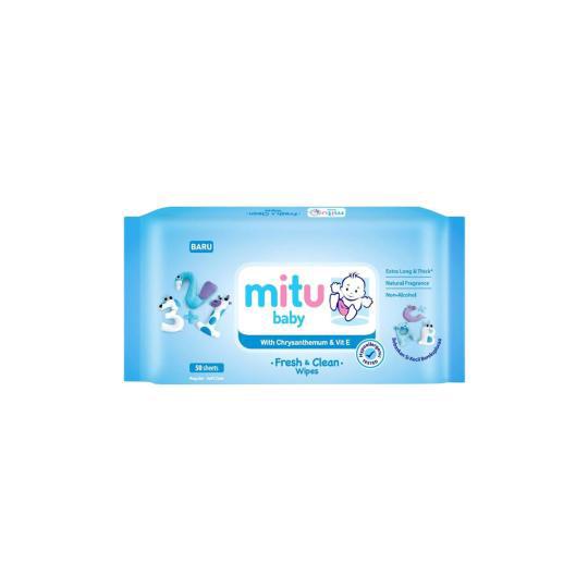 MITU BABY WIPES BIRU 50 PIECES