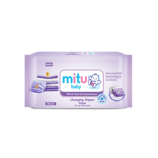 MITU BABY WIPES CHANGING DIAPERS PURPLE 50 PIECES