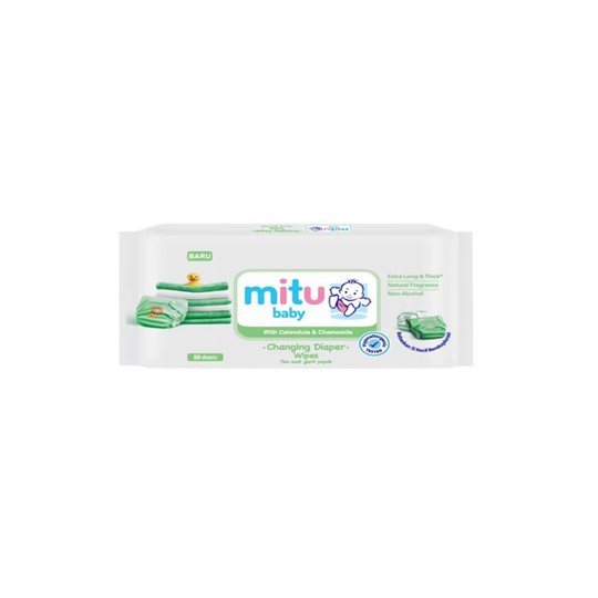 MITU BABY WIPES CHANGING DIAPERS WHITE 50 PIECES