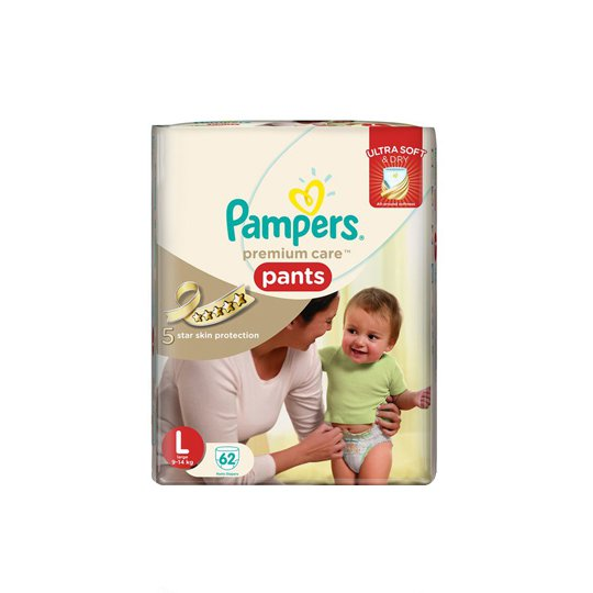 PAMPERS PREMIUM CARE ACTIVE BABY PANTS L 62 PIECES