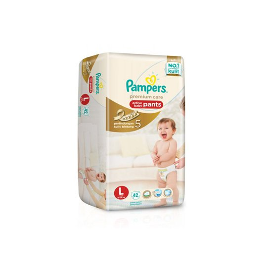 PAMPERS PREMIUM CARE ACTIVE BABY PANTS L 42 PIECES