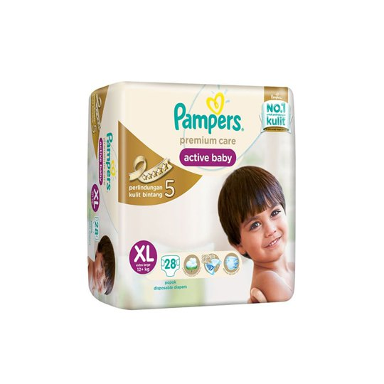 PAMPERS PREMIUM CARE ACTIVE BABY XL 28 PIECES