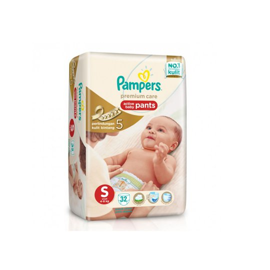 PAMPERS PREMIUM CARE PANTS S 32 PIECES