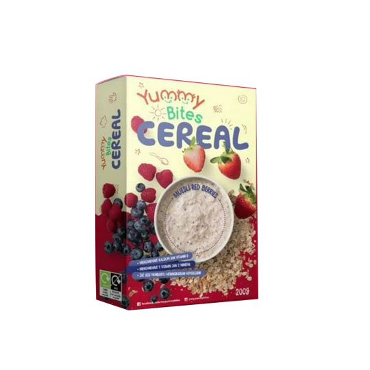 YUMMY BITES CEREAL STRAWBERRY,RASPBERRY & BLUEBERRY MUESLI 200 GR
