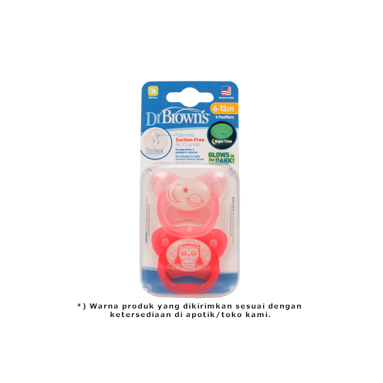 Dr Brown's Pacifier Prevent Glow In The Dark 6-12 M 2 Pieces