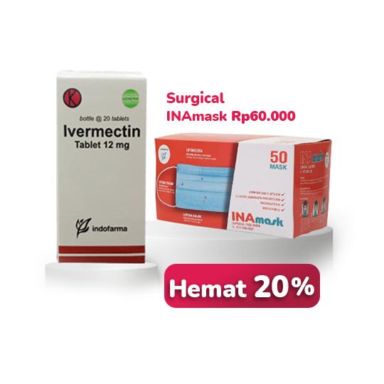 Ivermectin 12 mg 20 Tablet + INAmask Surgical Face Mask Blue 50 Pieces (Paket Bundling) - Paling Hemat