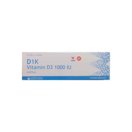 D1K Vitamin D3 1000 IU 10 Kapsul