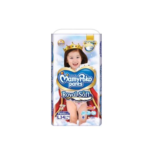Mamy Poko Pants Royal Soft Girls L 34 Pieces