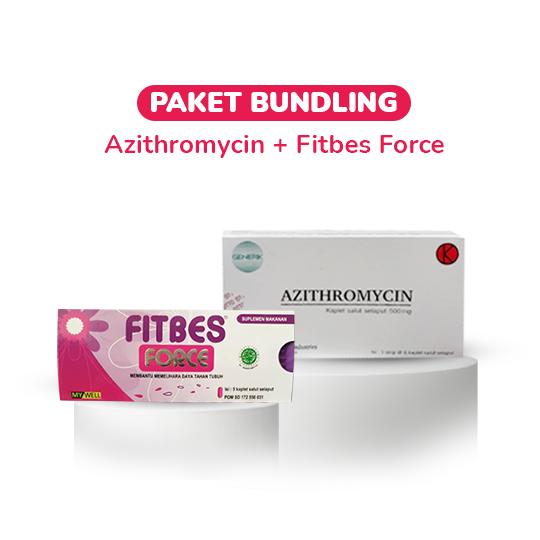 Azithromycin 500 mg 6 Tablet + Fitbes Force (Echinacea & Zinc) 10 Tablet (Paket Bundling)