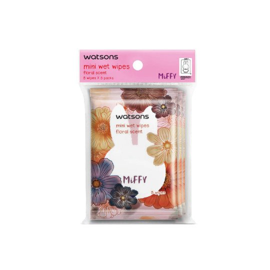 WATSONS MINI WET WIPES FLORAL 3 PACK