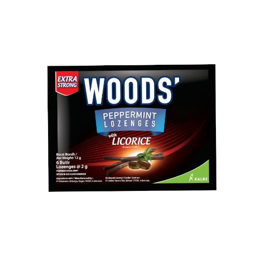 Woods Lozenges Licorice 6 Butir