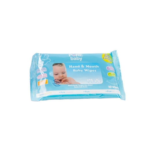Pure Baby Hand & Mouth Wipes Blue 10 Pieces