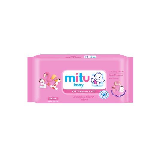 MITU BABY WIPES PINK 50 PIECES