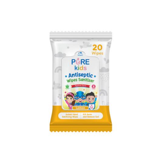 Pure Kids Antiseptic Wipes Sanitizer Lemon 20 Lembar
