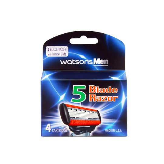 WATSONS MENS 5 BLADE RAZOR CATRIDGE 4 PIECES