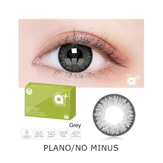 A+ New Grey 2 Color Softlens Plano/No Minus