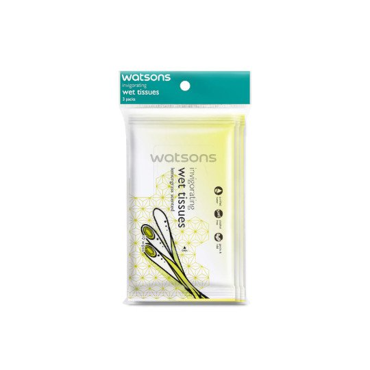 WATSONS INVIGORATING WET TISSUES LEMONGRASS 10 LEMBAR