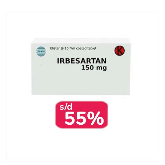 Irbesartan 150 mg 30 Tablet - Obat Rutin