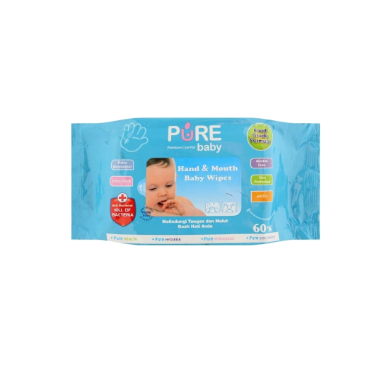 Pure Baby Hand & Mouth Wipes Aloe Vera 60 Pieces