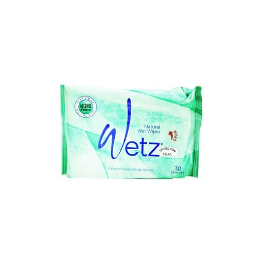WETZ NATURAL WET WIPES GREEN TEA 30 SHEETS